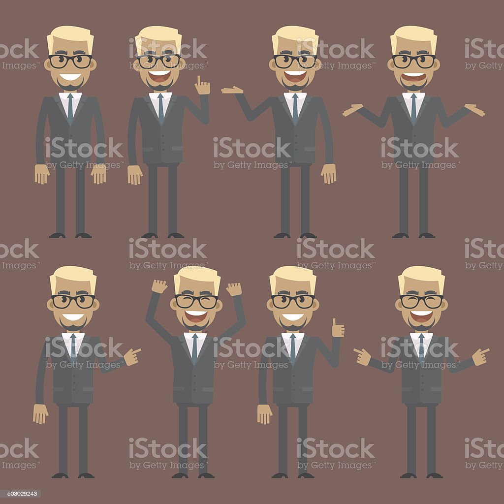 Businessman blond character in different poses vector art illustration