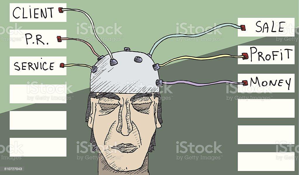 Businessman brainscan vector art illustration