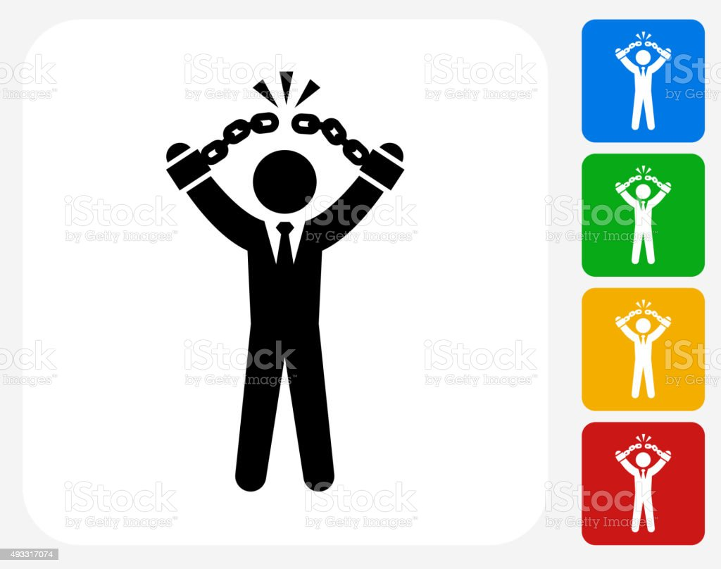 Businessman Breaking Shackles Icon Flat Graphic Design vector art illustration