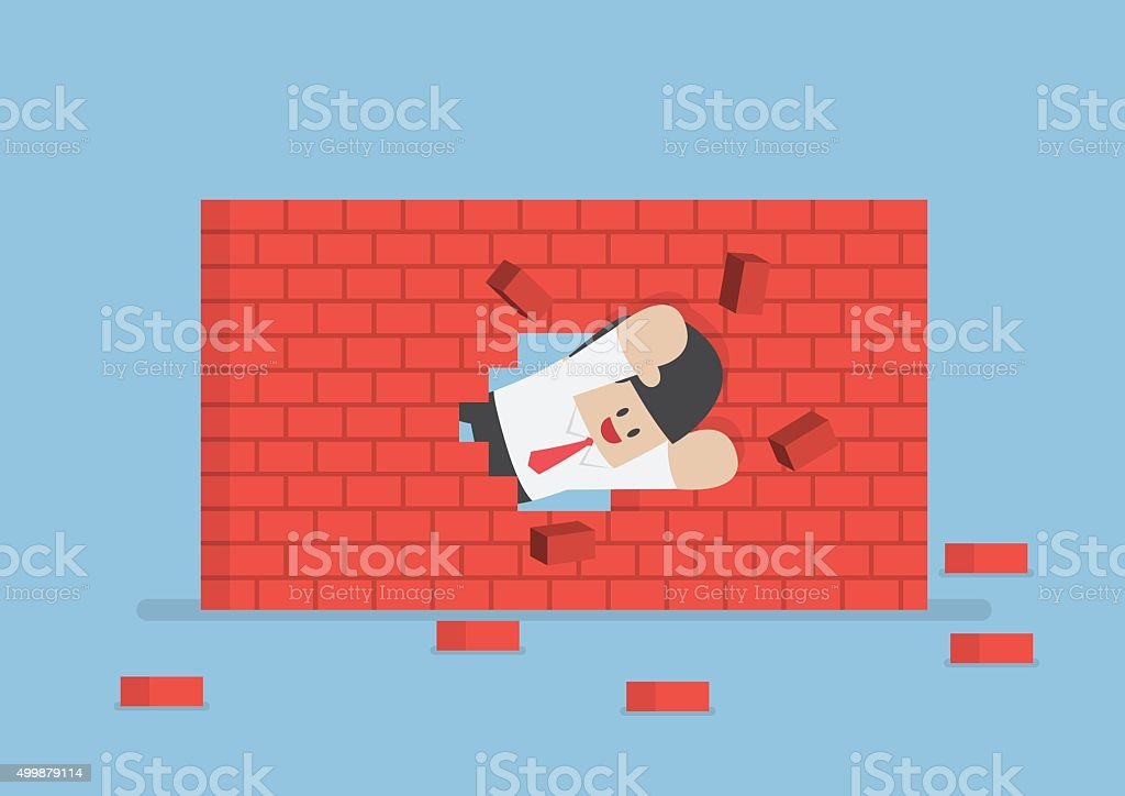 Businessman breaking through the wall vector art illustration