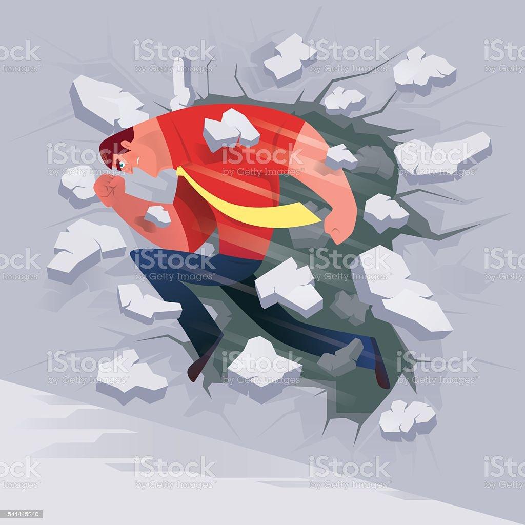 businessman breaking through wall vector art illustration