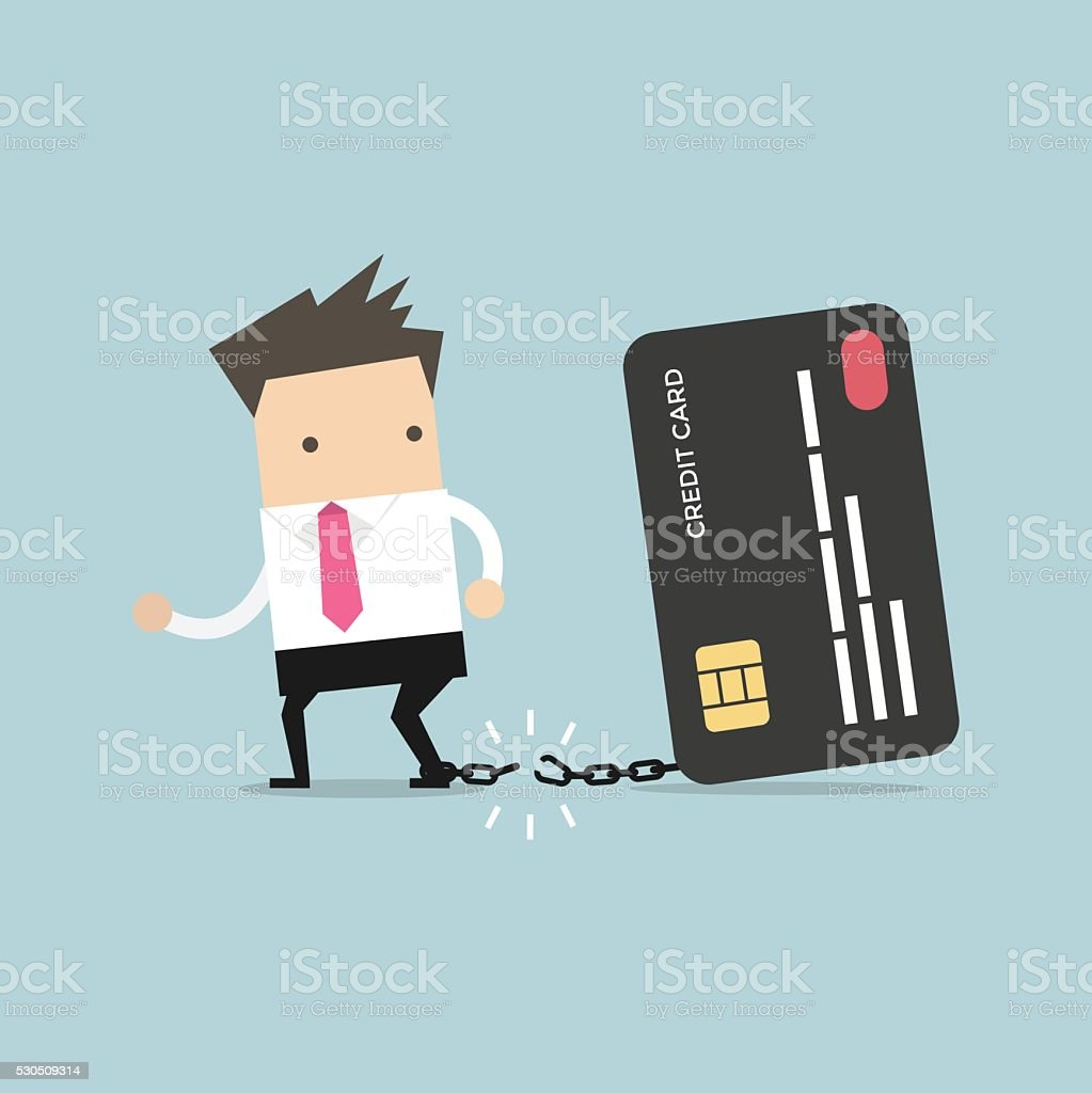 Businessman breaks free from the chain to bank credit card. vector art illustration