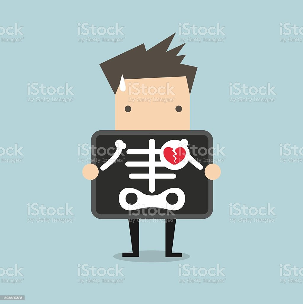 Businessman broken heart with x-ray scan, heartbreak vector art illustration