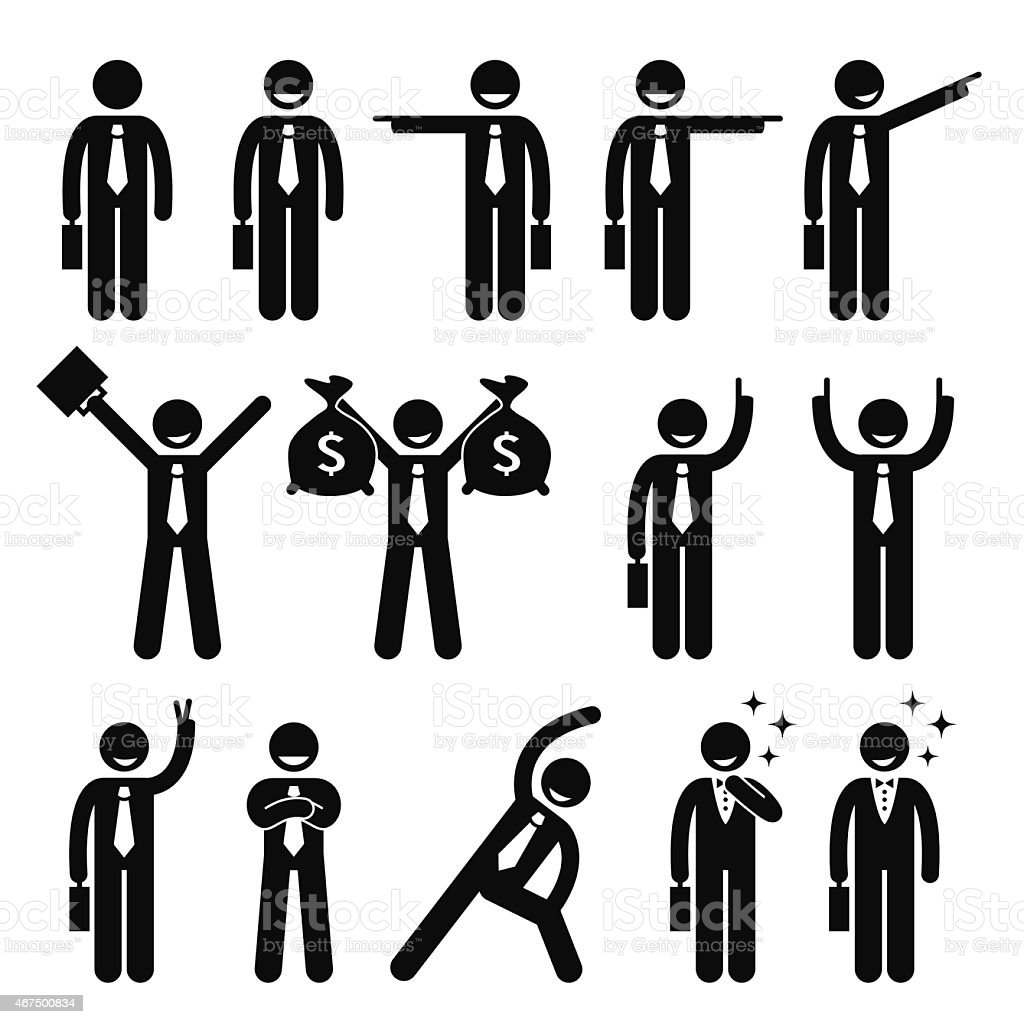 Businessman Business Man Happy Action Poses Stick Figure Pictogram Icon vector art illustration