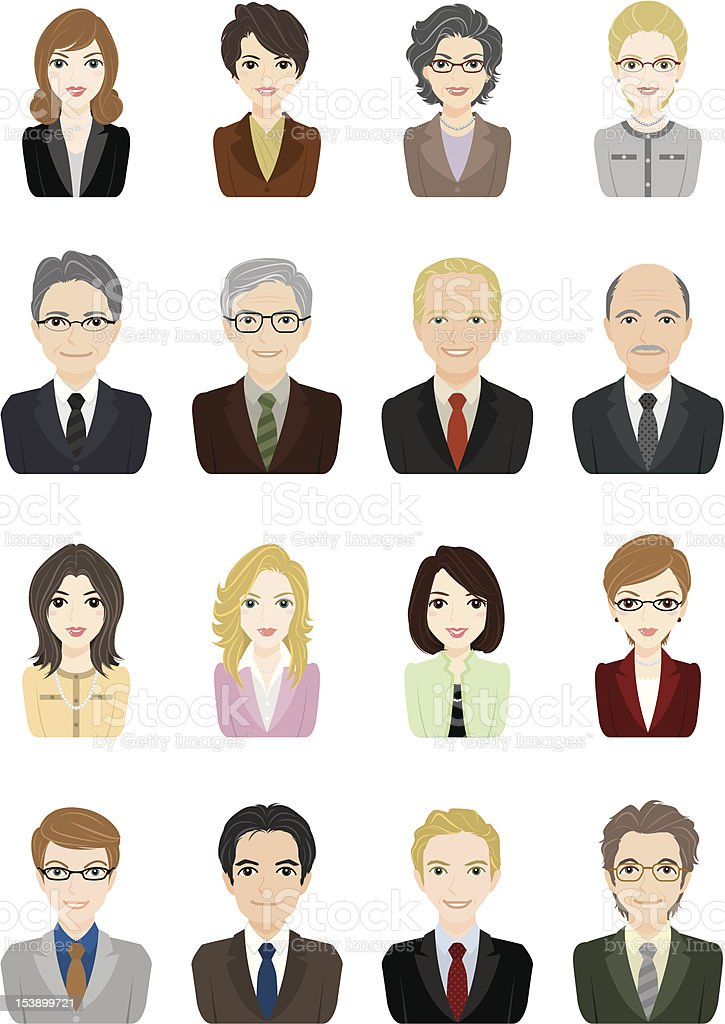 Businessman / Businesswoman / Face vector art illustration