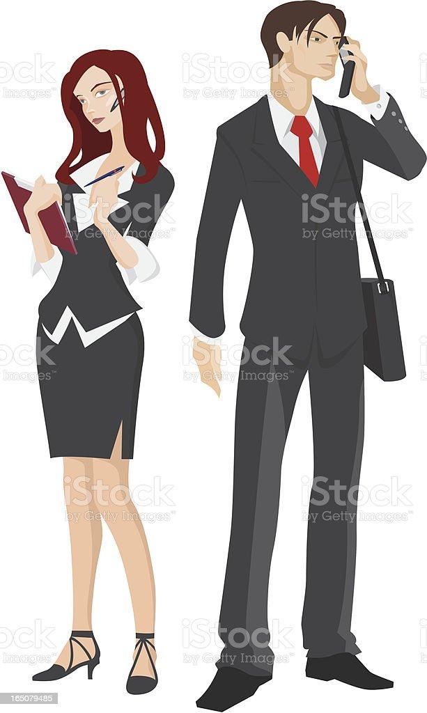 Businessman & Businesswoman vector art illustration