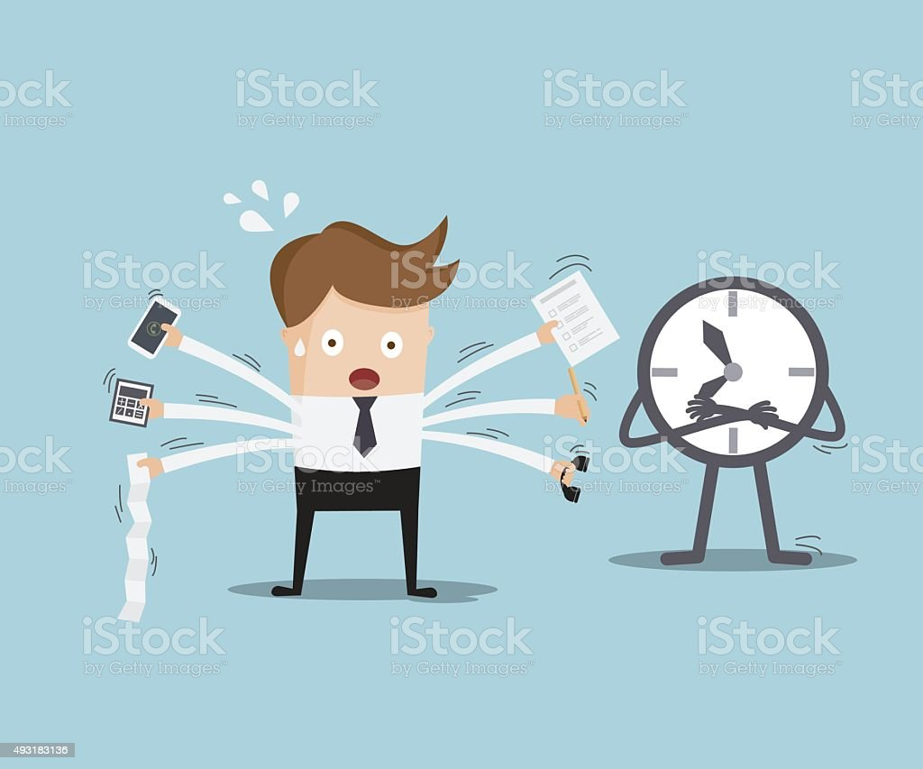 businessman busy with time vector art illustration