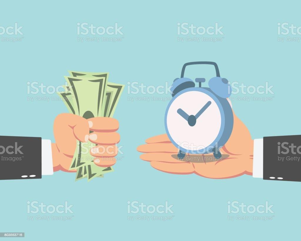 Businessman buying a clock vector art illustration
