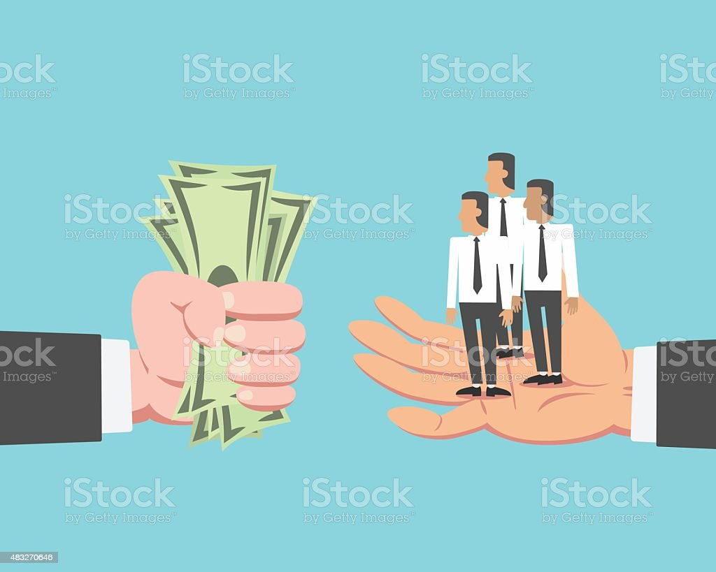 Businessman buying employee vector art illustration