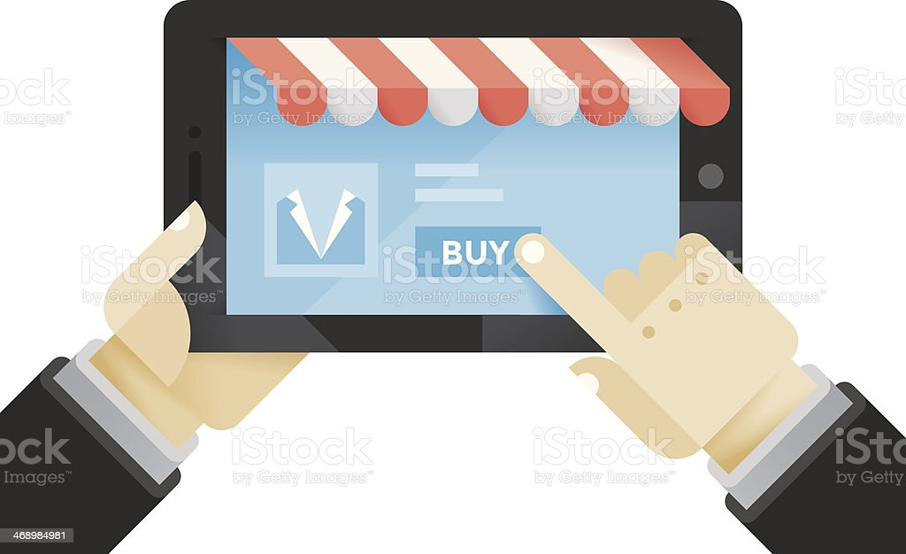 Businessman buying suit in the online shop on tablet computer royalty-free stock vector art