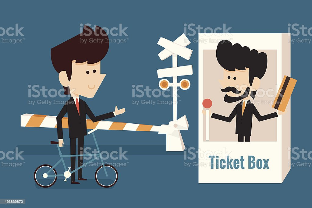 businessman buying ticket vector art illustration