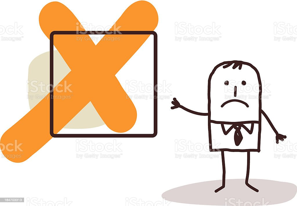 Businessman by an orange X Box royalty-free stock vector art