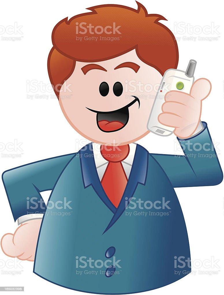 Hombre de negocios, hablando cellphone llamando - ilustración de arte vectorial