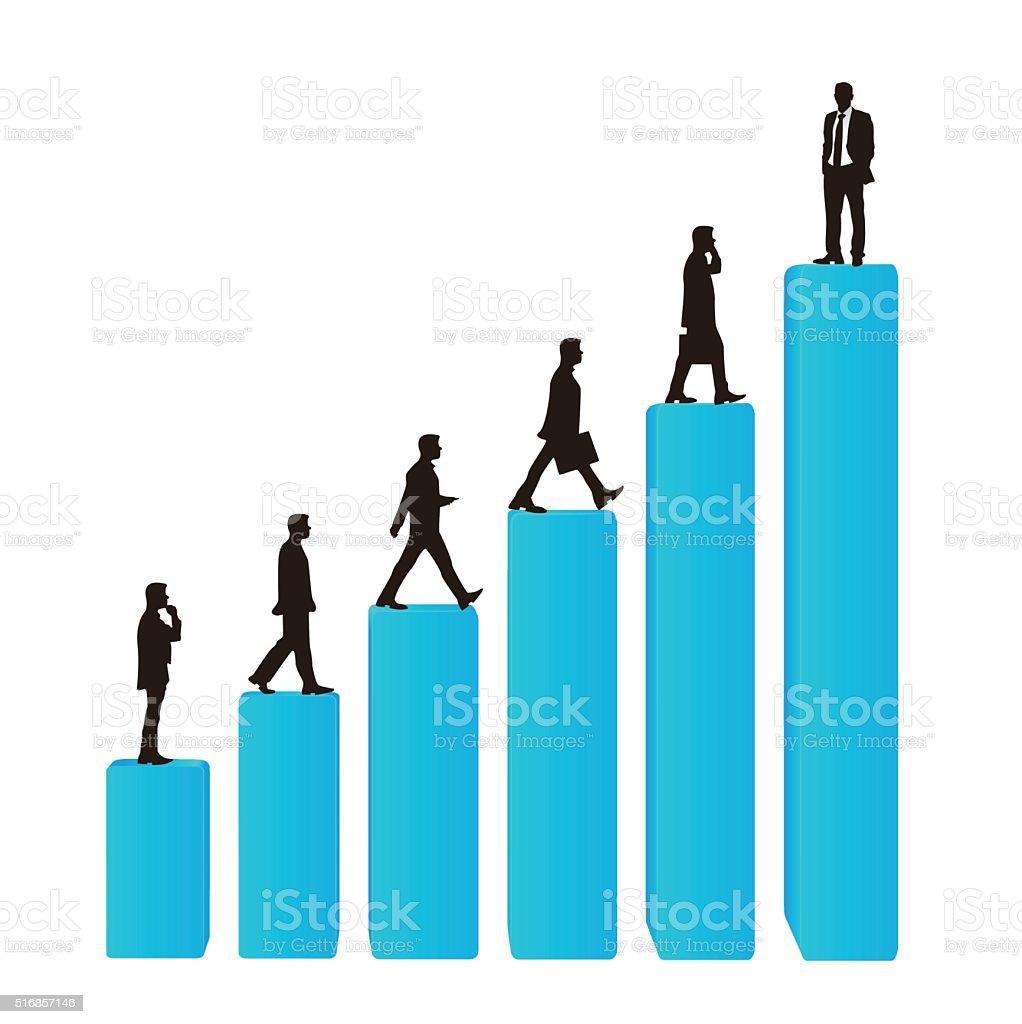Businessman career promotion graph vector art illustration