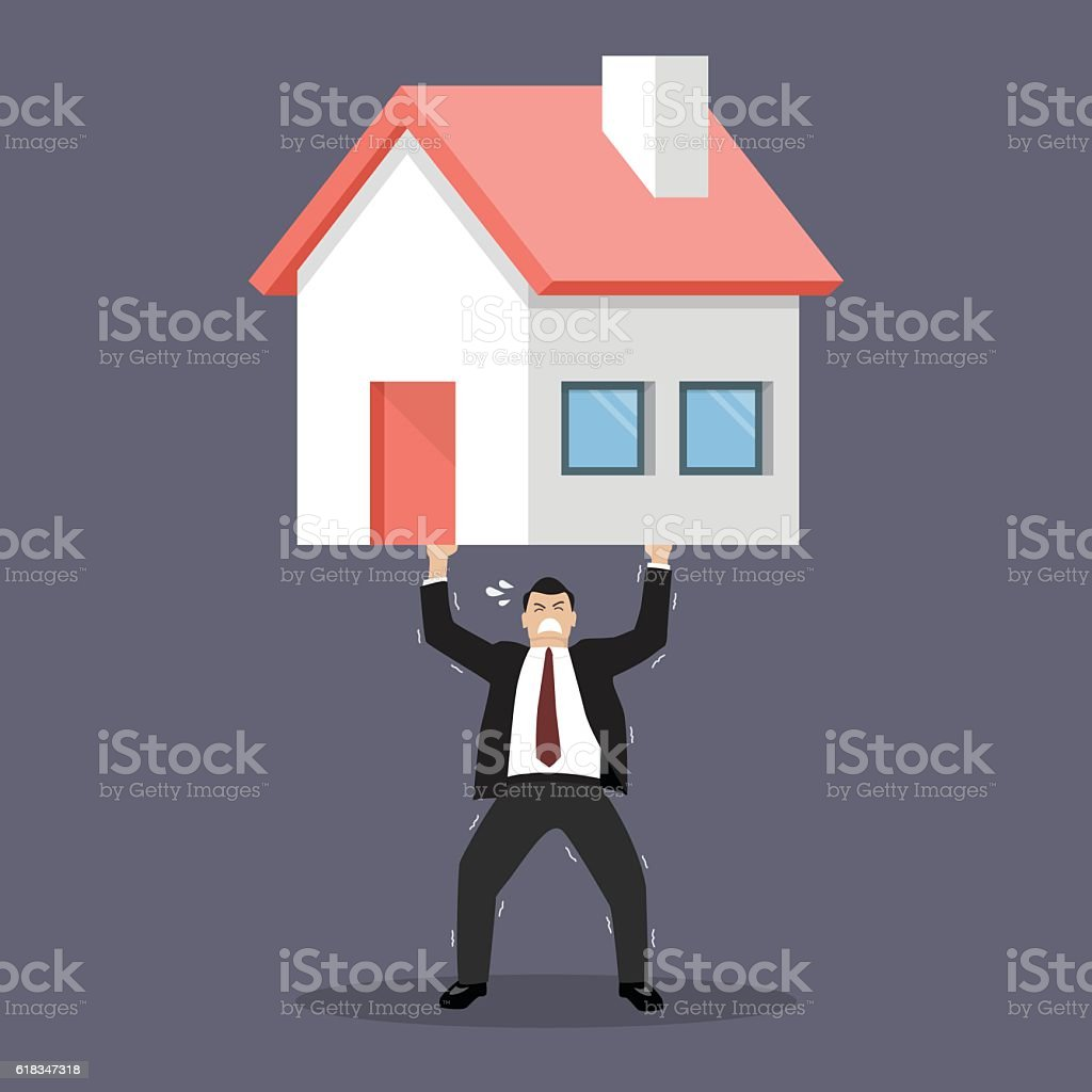 Businessman carry a heavy home vector art illustration
