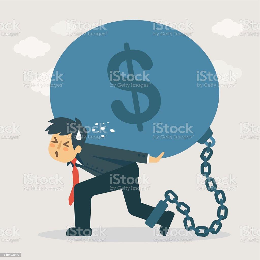 Businessman carry debt. Financial concept illustration. vector art illustration