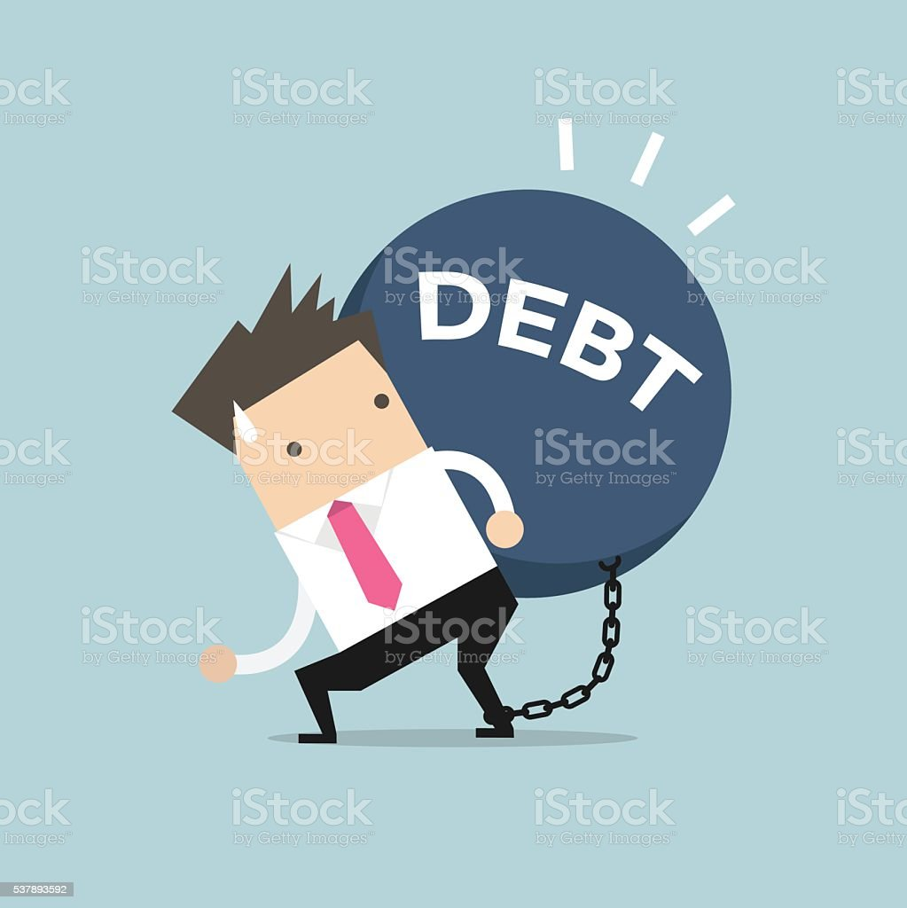 Businessman carry debt. Financial concept vector art illustration
