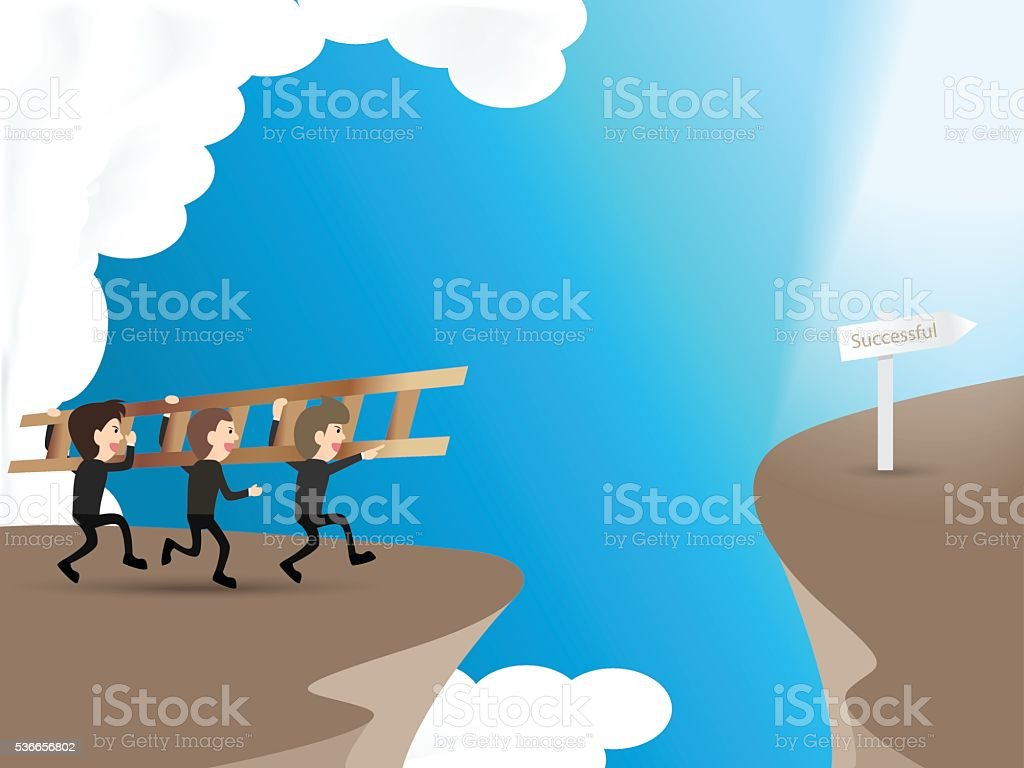 businessman carry ladder to cross cliff to success way, vector art illustration