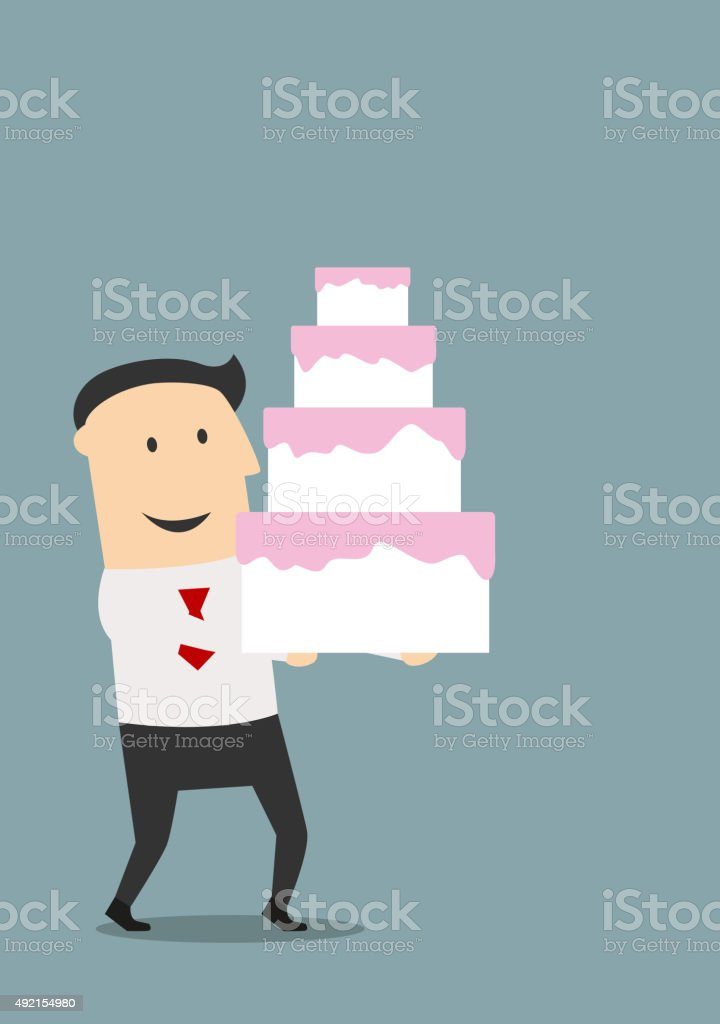 Businessman carrying a birthday cake vector art illustration