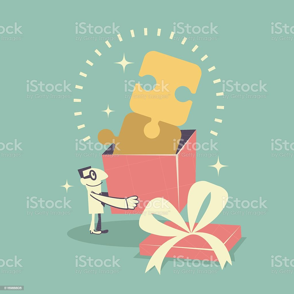 Businessman carrying (holding) a gift box with jigsaw puzzle solution vector art illustration