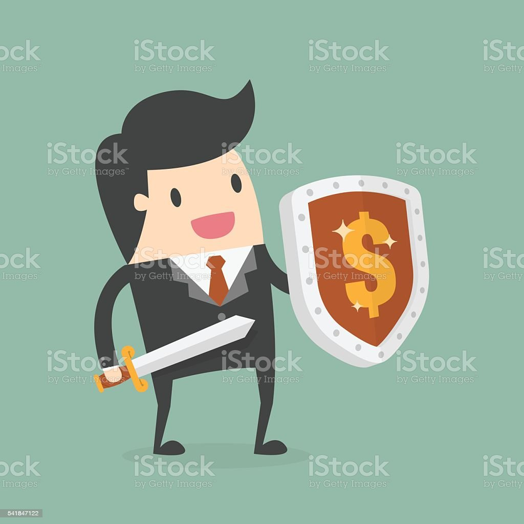 Businessman Carrying a Money Shield And Sword vector art illustration