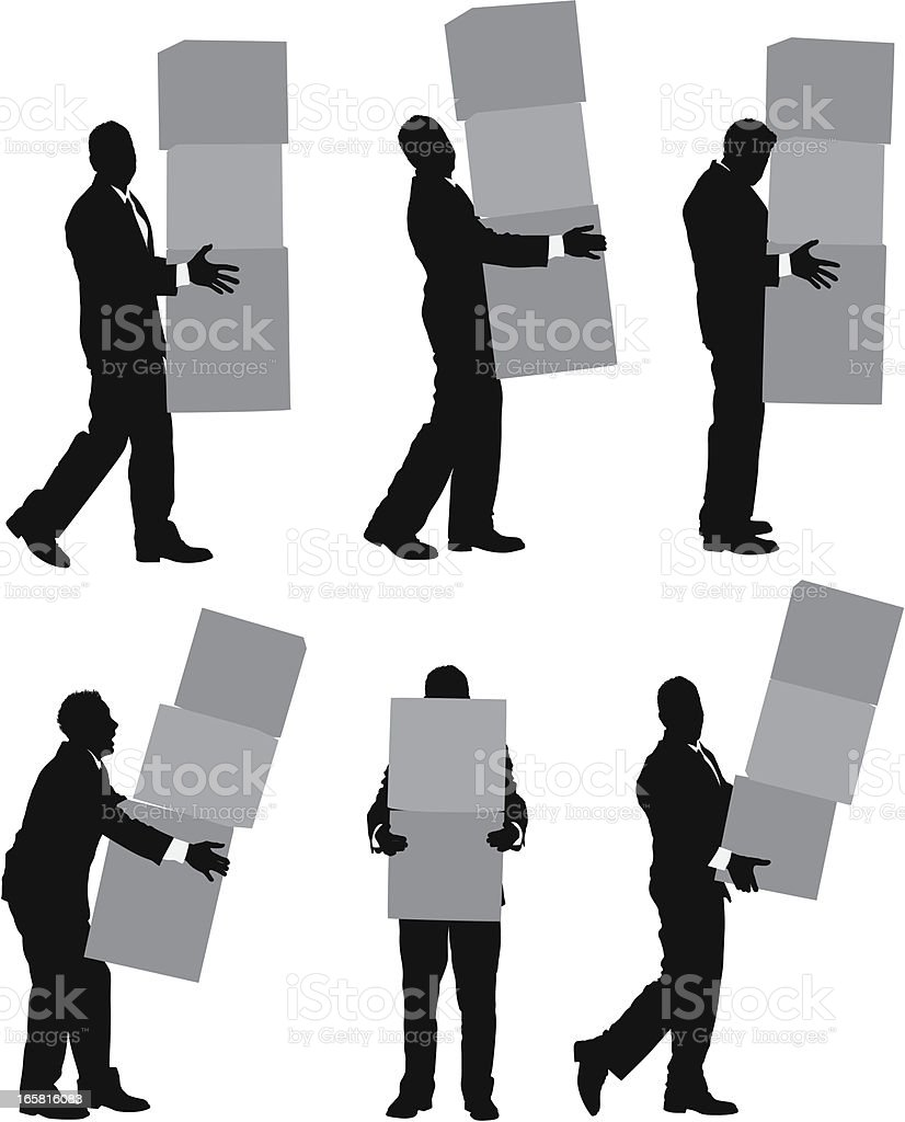 Businessman carrying cardboard boxes royalty-free stock vector art