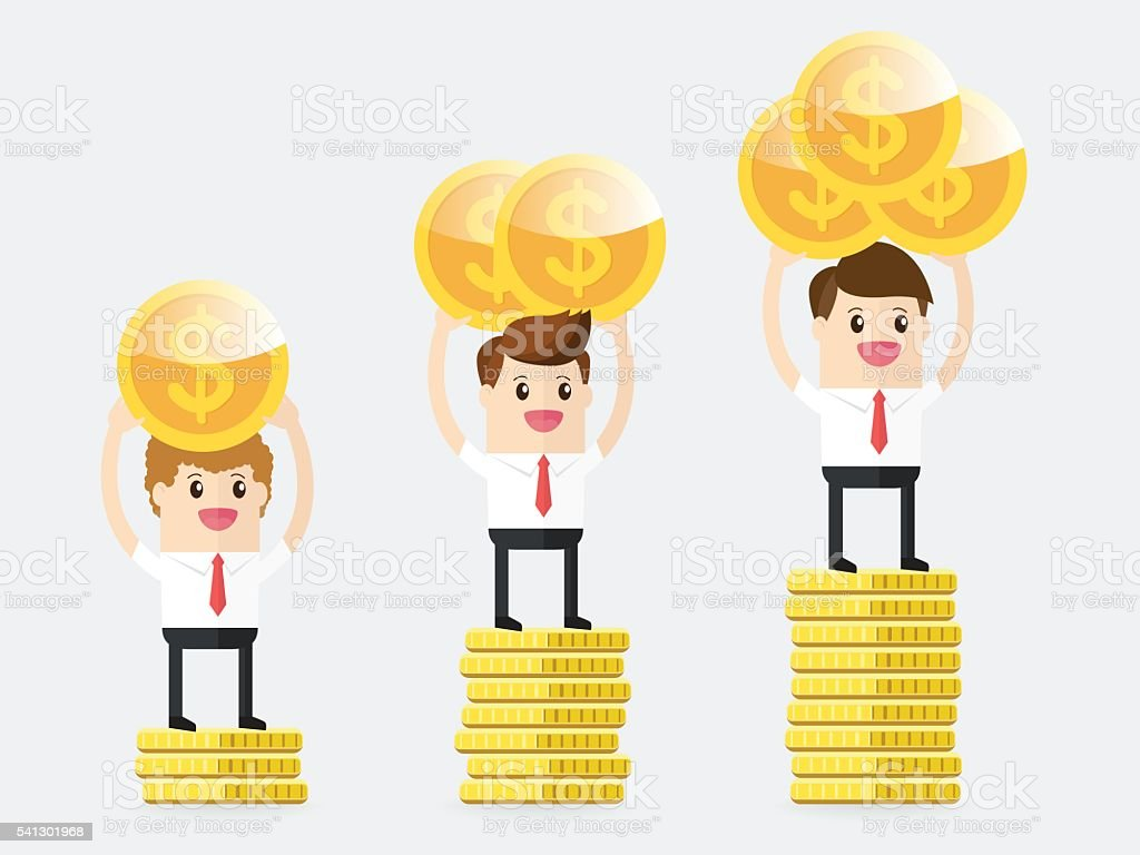 businessman carrying gold coins and standing on pedestal vector art illustration