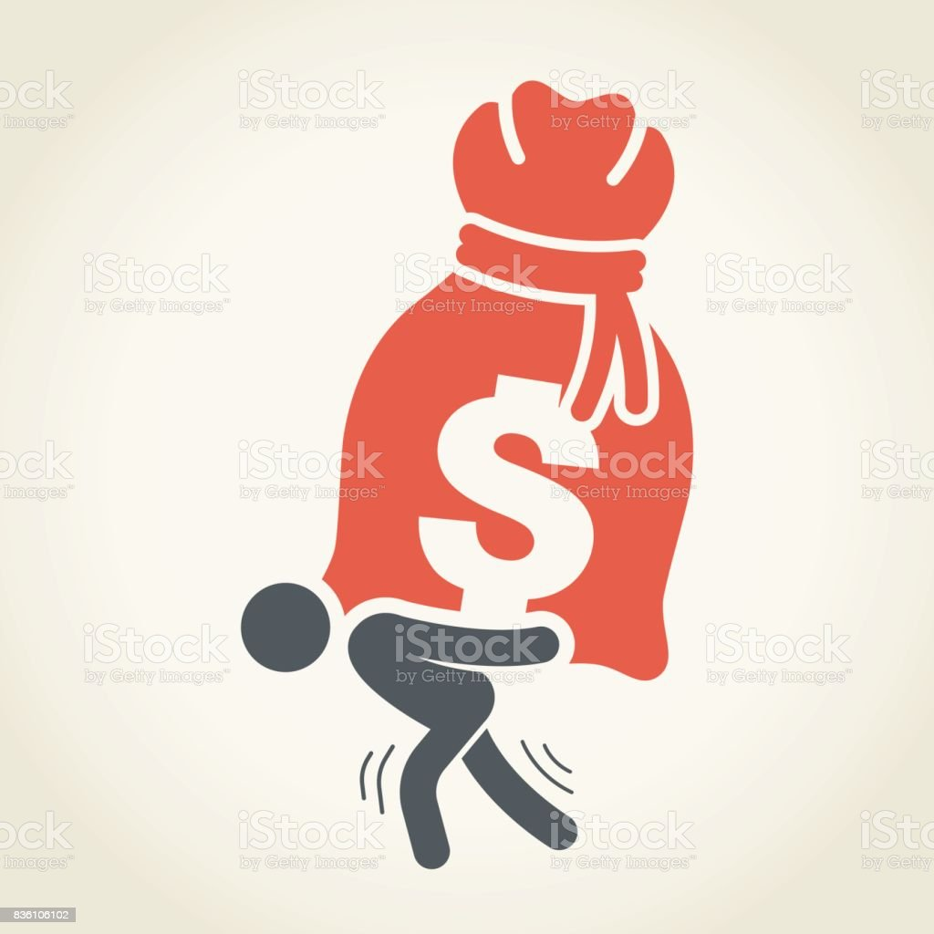 Businessman Carrying Large Money Bag vector art illustration