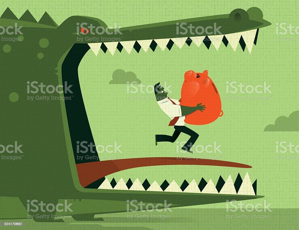 businessman carrying piggy bank vector art illustration