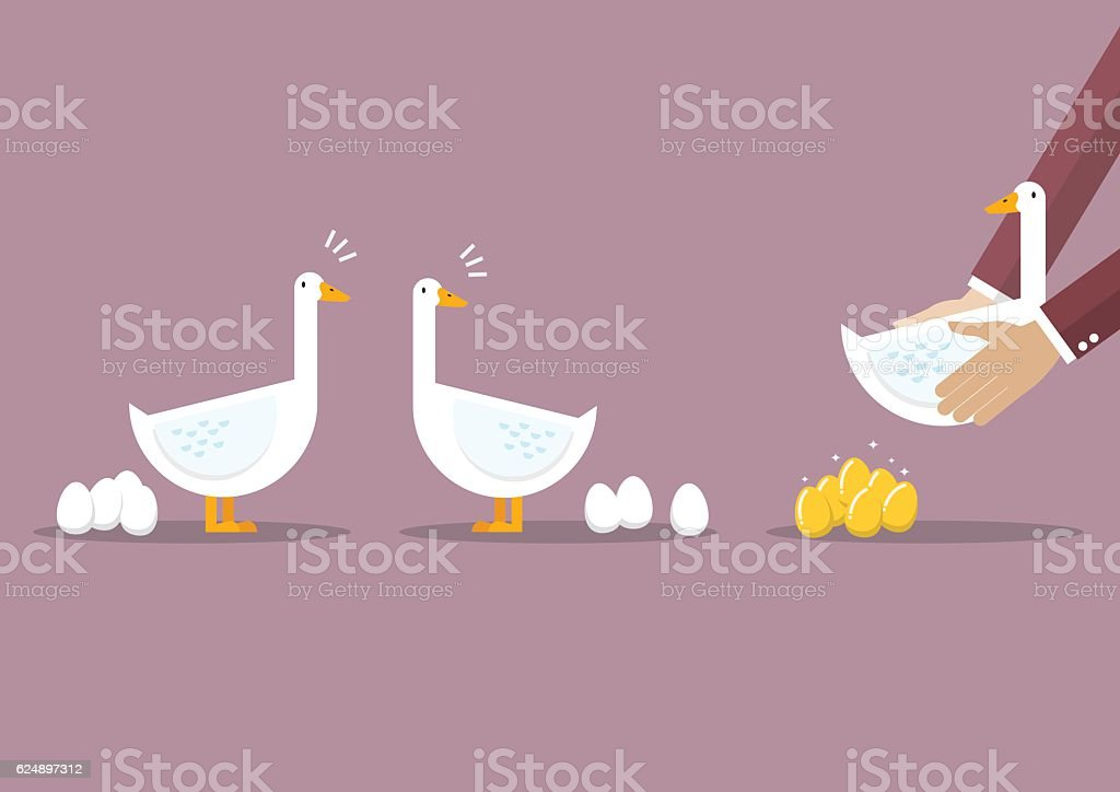 Businessman carrying special goose among ordinary goose vector art illustration