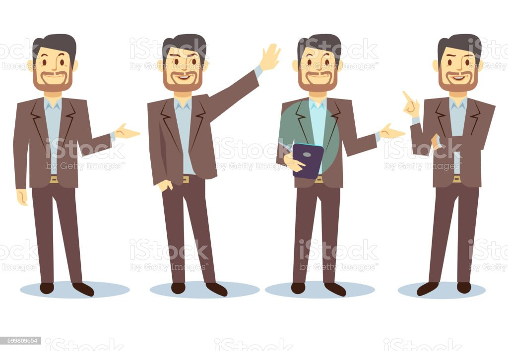 Businessman cartoon character in different poses for business presentation vector vector art illustration