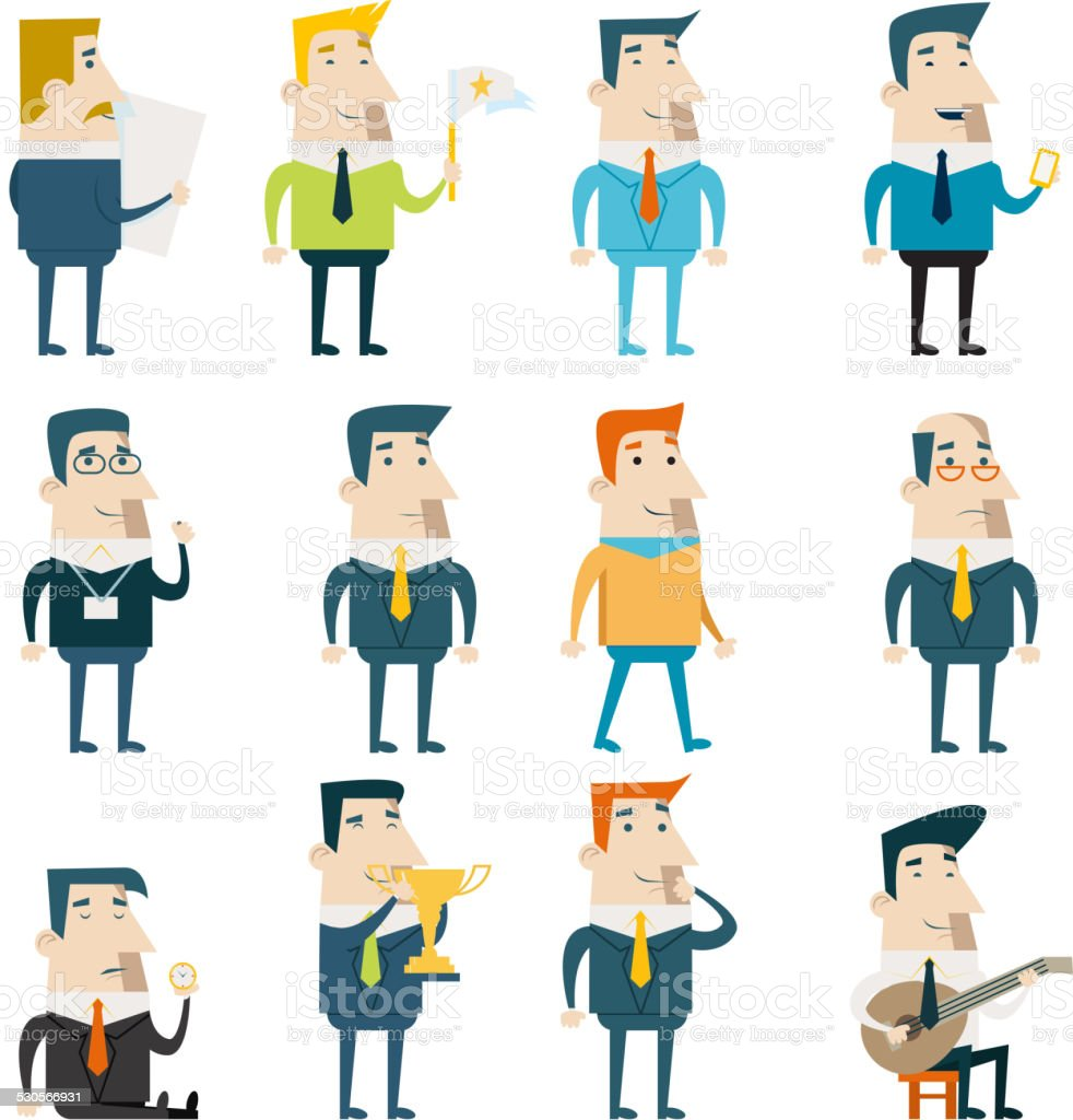Businessman Cartoon Characters Business and Marketing Icons Set Concept Flat vector art illustration