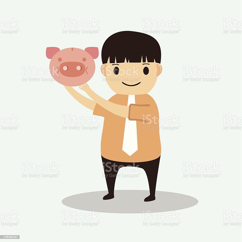 Businessman cartoon with piggy bank royalty-free stock vector art