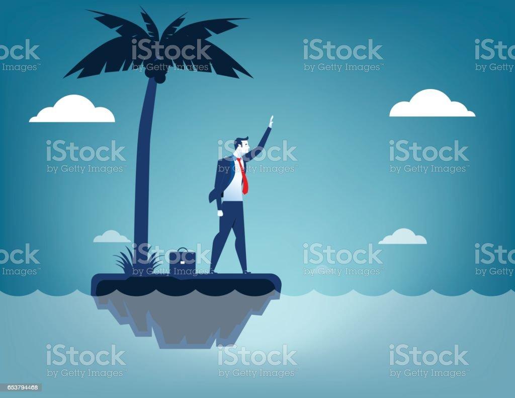 Businessman castaway. Concept business illustration. Vector flat vector art illustration