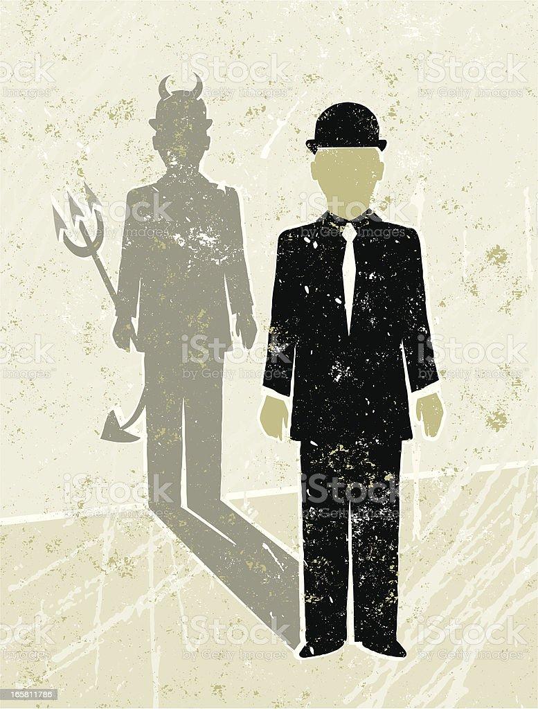 Businessman Casting a Devil Shaped Shadow vector art illustration