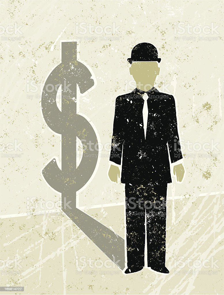 Businessman Casting a  Dollar Shadow vector art illustration