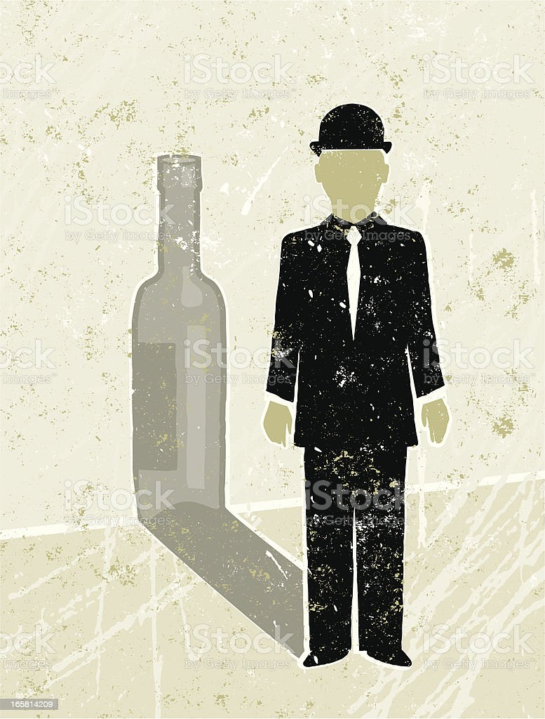 Businessman Casting a  Wine Bottle Shadow royalty-free stock vector art