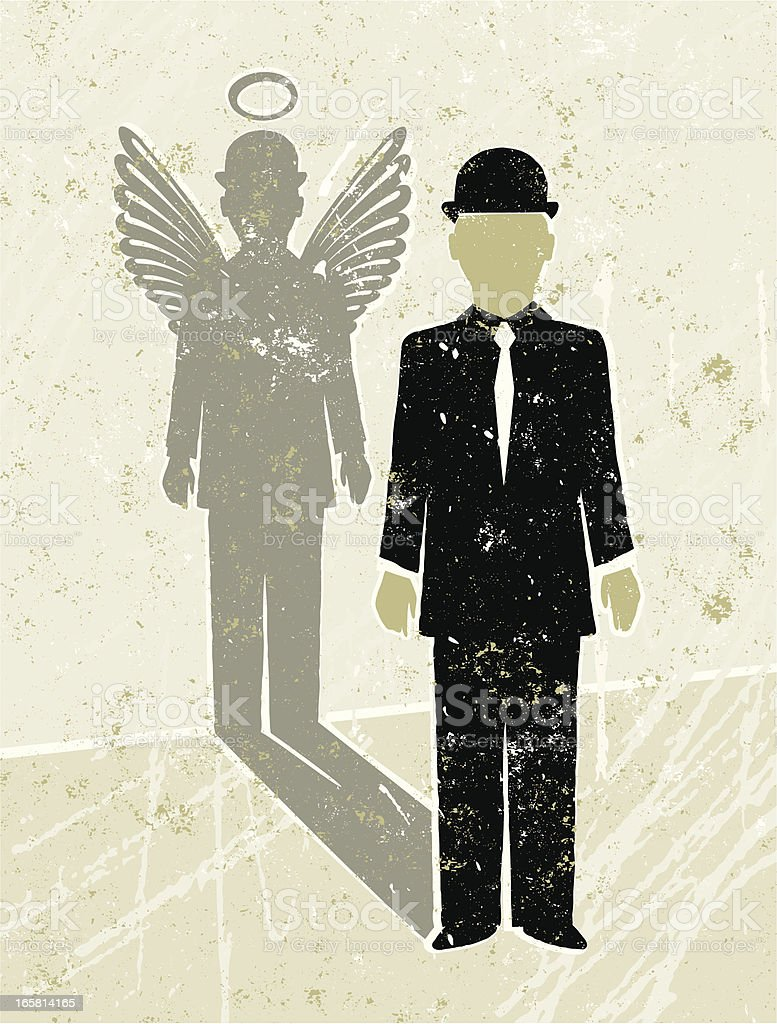 Businessman Casting an Angel Shadow vector art illustration