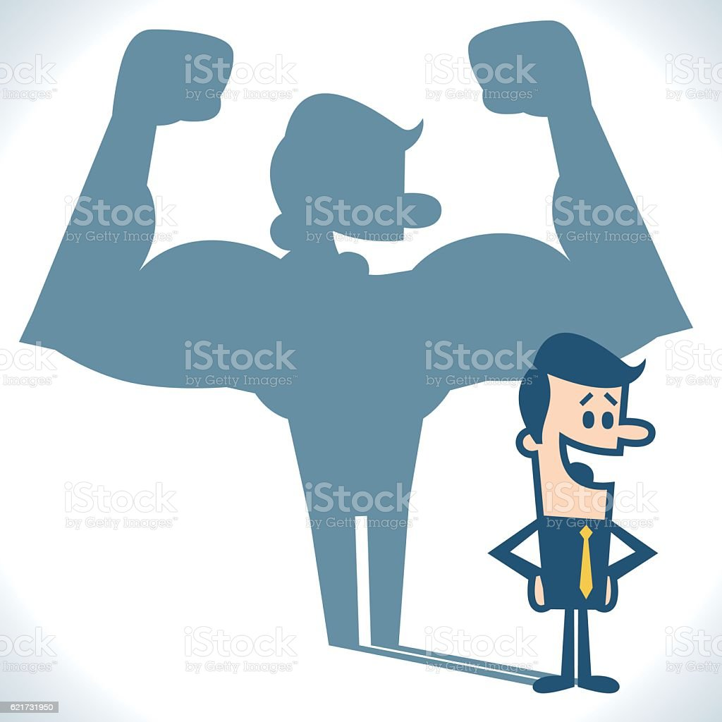 Businessman casting strong man shadow vector art illustration