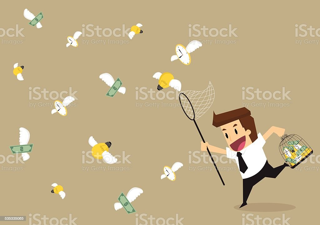 Businessman catch money,time,money to cage vector art illustration