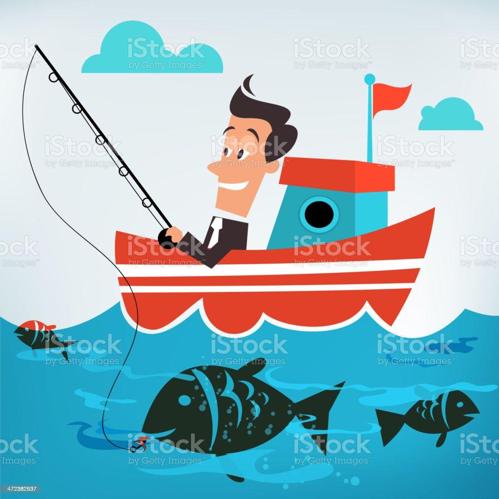 Businessman Catching a Big Fish at Sea vector art illustration
