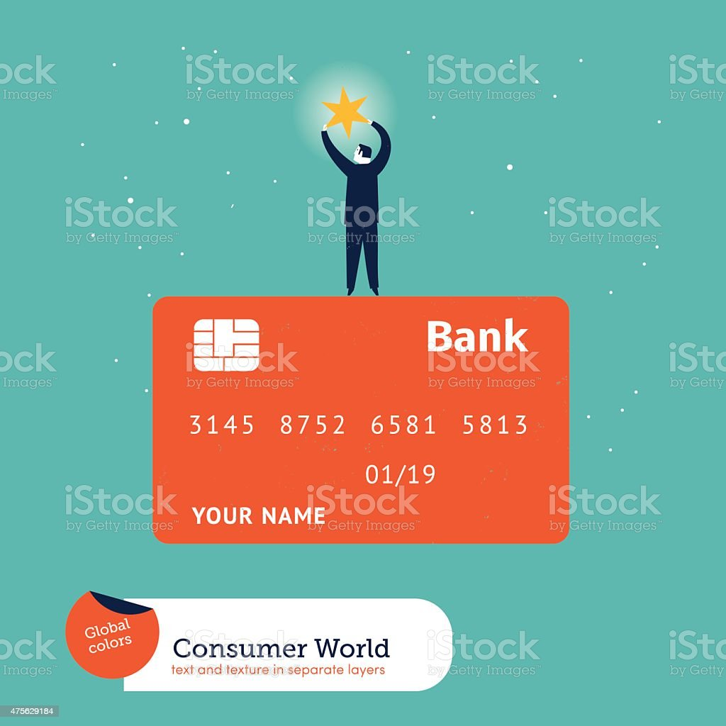 Businessman catching a star on top of a credit card vector art illustration