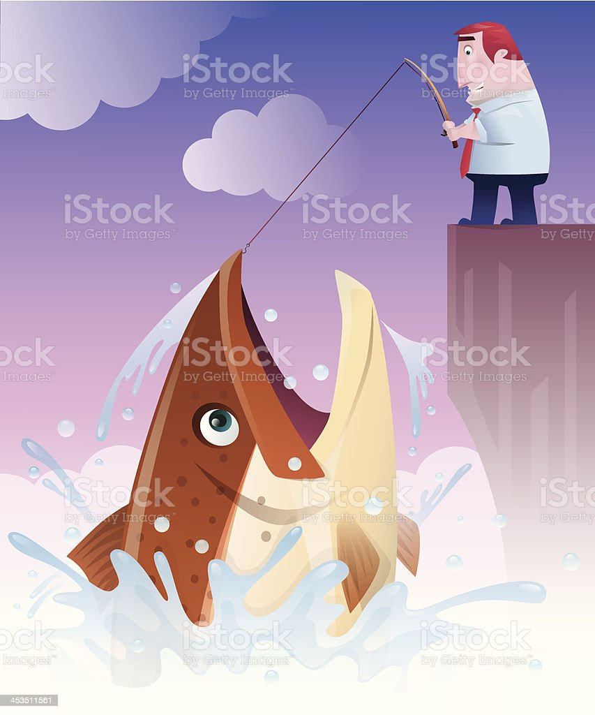 businessman catching big fish royalty-free stock vector art