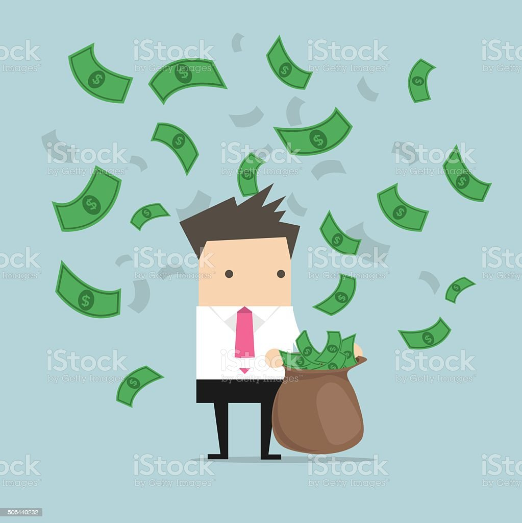 Businessman catching money in a sack vector art illustration