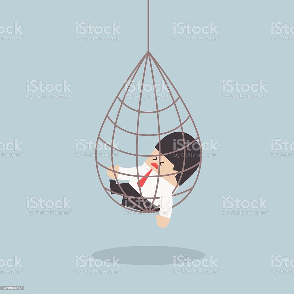 Businessman caught in a net trap vector art illustration