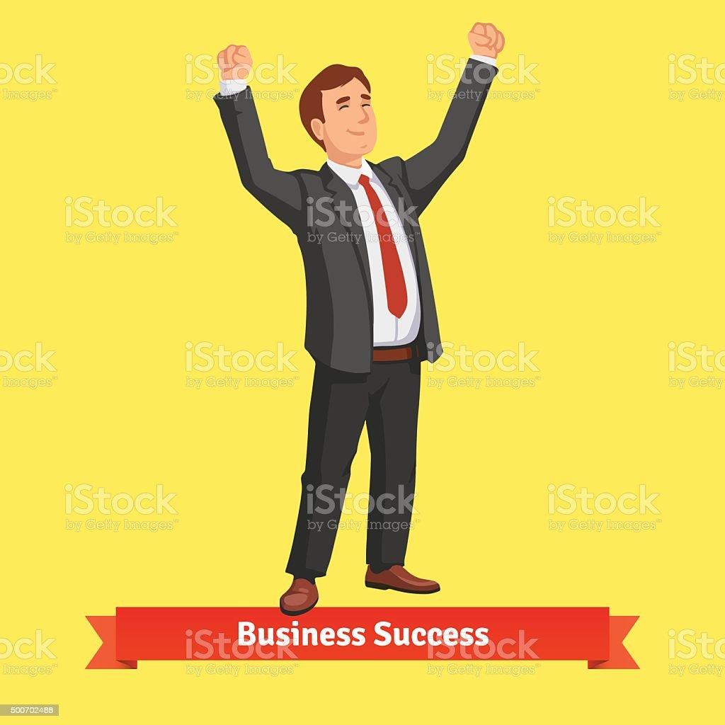 Businessman celebrating success or victory vector art illustration