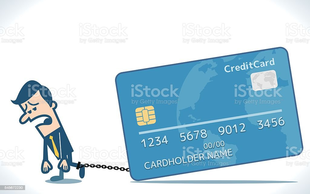 Businessman chained to the credit card vector art illustration
