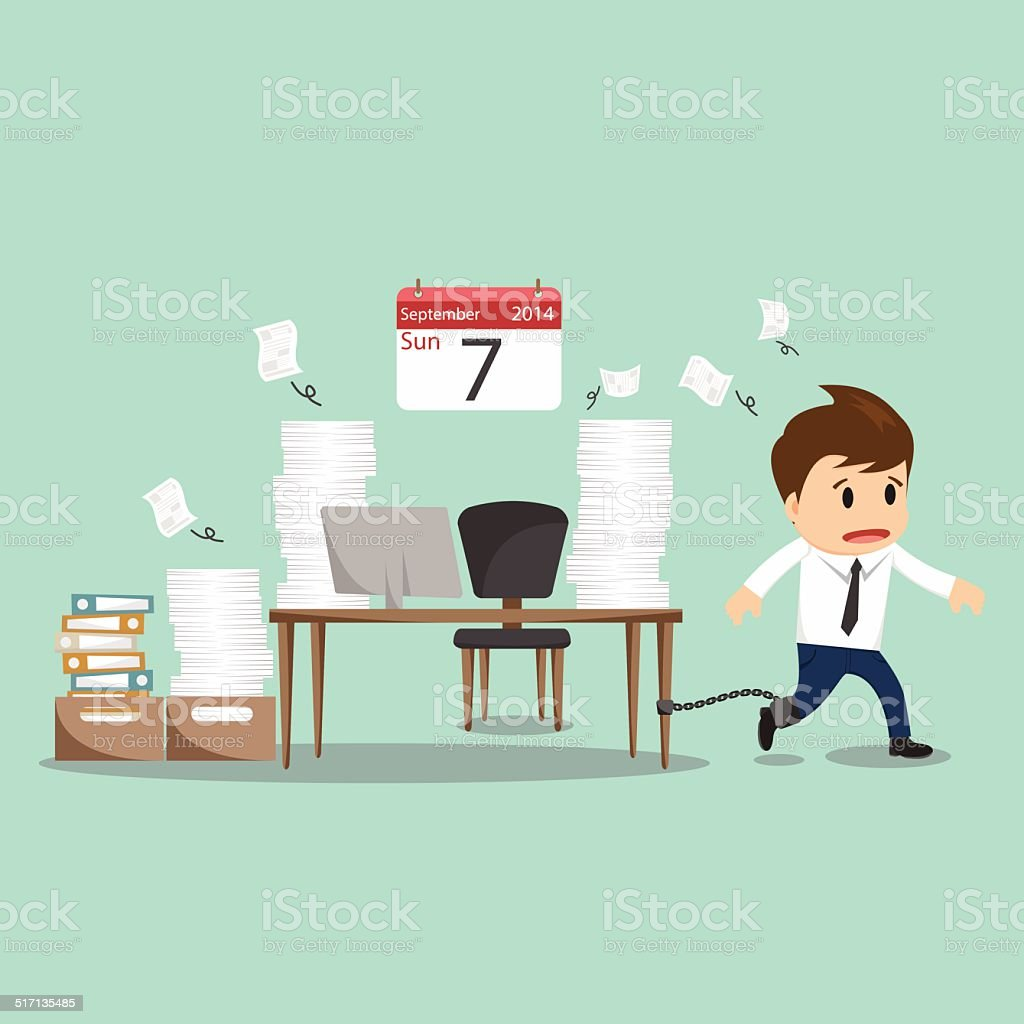 Businessman chained to the office desk on sunday vector illustration vector art illustration