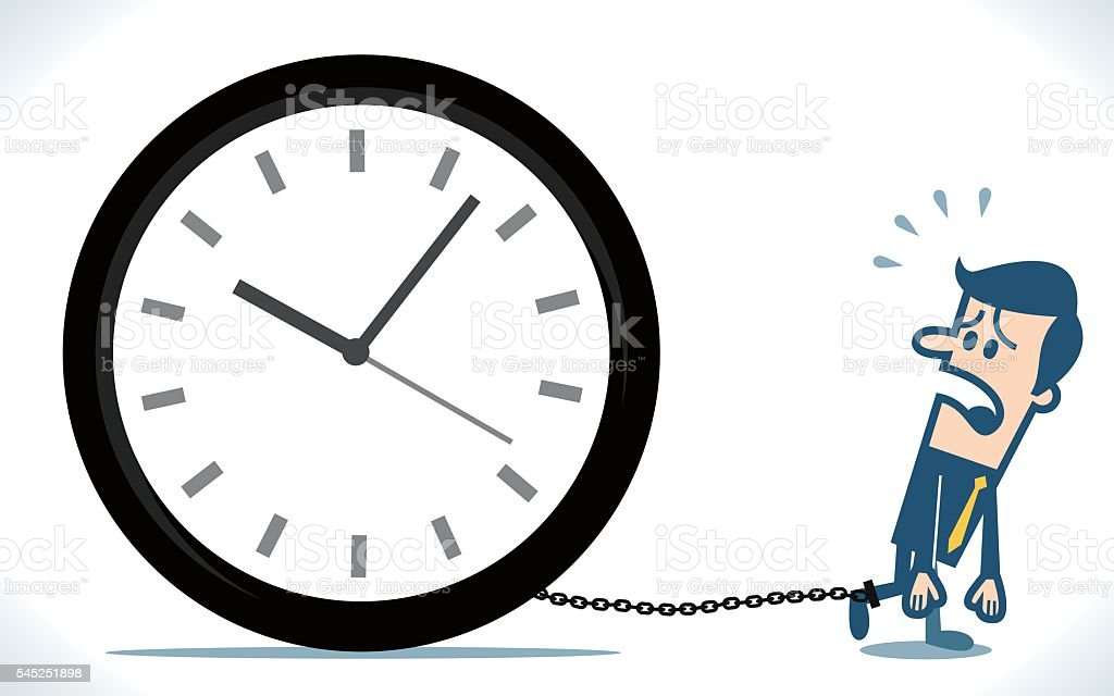 Businessman chained to time vector art illustration