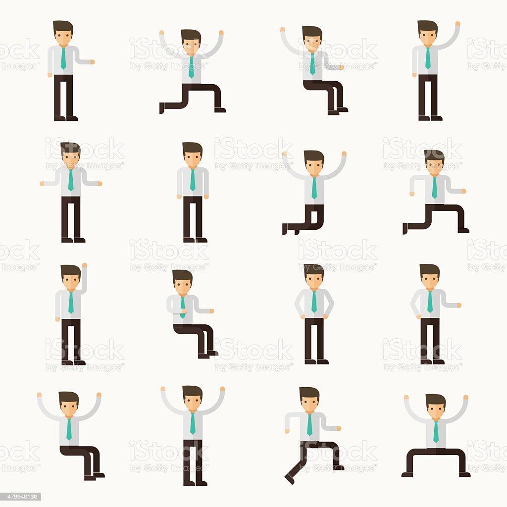 16 businessman character actions vector art illustration